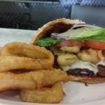 Awesome new chorizo burger with pepper jack and jalepeno poppers