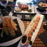 Delicious salmon teriyaki and soft crab sushi too =^.^=