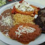 Combination mexicana/ Mexican combo.  Steak, Chile relleno, cheese enchilada along with rice and