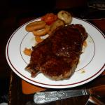 My wifes sirlion steak (with chips & vegetables) still to go on her plate.
