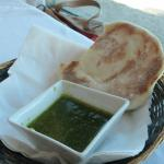 Home made pita and dipping sauce