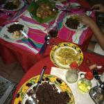 Delicious Cuban Beans with Rice, Langostas, Salad, and Appetizers!