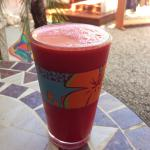 Carrot Blush Smoothie with Red Beet, Carrot and Apple. We added Orange! Very delicious!