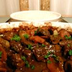 My home made beef bourguignon from the cookbook