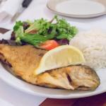 Trucha Rellena / Stuffed Trout  An 8 oz. Boneless trout filet w/ filet of sole, shrimps, & mushr