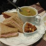 Soup with croutons and ham sandwich #Yum!