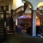 a cozy area in the main lobby/ stairwell to the rooms