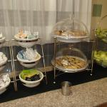 Fruits and pastries in breakfast area