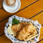 Famous fish & chips with local roasted coffee