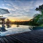 villa maya swimming pool at sunset
