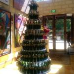 Love the Xmas tree made with the wine bottles