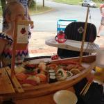 Sashimi, sushi boat.