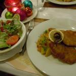 Pork schnitzel and salad