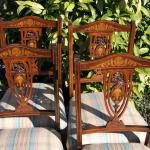 Edwardian inlaid dining chairs.