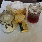 Plain scone with cream and jam! Delicious!