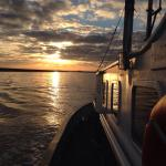 Sun setting behind Lady Florence as we return to Orford Quay.