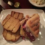 Pastrami on Ciabatta with Cornbread and Cole Salw