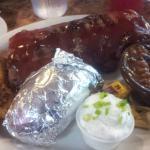 1/2 rack rib meal, with choice of potato and choice of vegeies, I chose baked beans