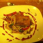 Slow braised belly pork -on a bed of noodles, braised fennel et al: typically pretty and delicio