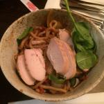 Chicken dish with udon noodles.
