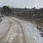 Snowing on our way to Racetrack via this 4WD road.