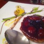 strawberry tart with bird