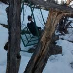 Snowy Swingset outside our room