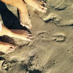leaving foot prints in the sand