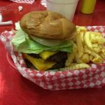 My husbands double cheese burger basket. Submitted by:mmiranda