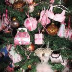 The decorations on the beautiful pink tree!