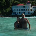 Swimming in front of Sterling House Tortola