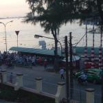 View of queue for bike ferry