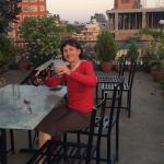 Enjoying a beer in the rooftop garden !