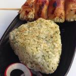 Onigiri and bacon wrapped enoki