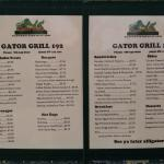 Actual Gator Grill menu, posted outside