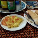 Bread with omelette egg