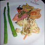 Asparagus, lox, capers,hummus, etc.