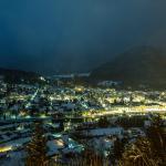 Blick auf Bad Ischl von Gasthof Siriuskogl Terrasse Winter