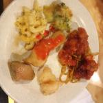 Plate from the buffet - honey chicken with lo main, broccoli and cheese, macaroni and cheese, sw