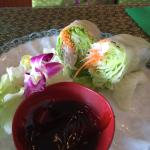 Summer Rolls. The order comes with 4 very large and amply stuffed rolls. The sauce is sweet and