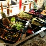 Salad bar, vegetables and salads