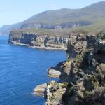 view of the beautiful coastine from the lookout near the Tasman Arch and Devil's Kitchen