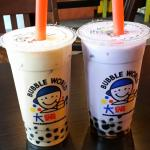 Milk Rose Tea and Taro Milk Tea with Honey Tapioca