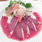 """Winter-Creation"" (coleslaw with smoked duck breast)"