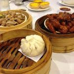 Chinese spareribs, egg tarts, chicken feet, pork bun
