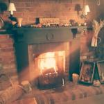 Welcoming autumn fireplace