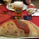 Mains: calzone and a Lech Pils