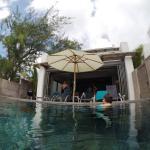 Relaxing at the villa