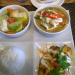 Chicken curry, satay chicken, veg stir fry, rice £10.50