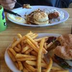 Country fried steak and bacon burger